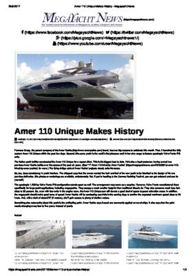 2017 08 – Amer 110 – Launch – Megayacht News